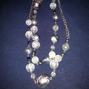 Gorgeous Silver Foil beads/Clear Beads Necklace